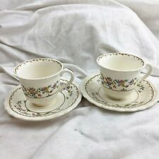ANTIQUE / VINTAGE MYOTT ENGLAND STAFFORDSHIRE 2 CUP AND SAUCER PAIR BUNDLE