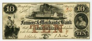 1854 $10 The Farmers' and Merchants' Bank of Memphis, TENNESSEE Note