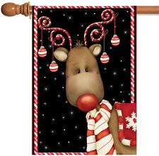 NEW Toland - Candy Cane Reindeer - Christmas Winter Ornament Black House Flag