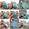 925 SOLID STERLING SILVER HANDMADE PENDANT IN ALL SHAPE OF TIBETAN TURQUOISE