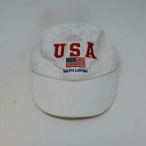 Rare VTG RALPH LAUREN Spell Out USA Flag Stretch Fit Hat 2000s Polo Baby Infant
