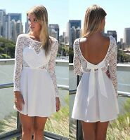 Sexy Women Summer Lace Long Sleeve Party Evening Cocktail Short Mini Dress