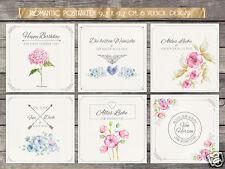 6 Geburtstagskarten, Mini Postkarten 9,7 x 9,7 cm RomaticCards,romantisch,shabby
