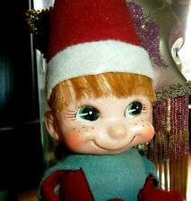"vtg knee hugger on shelf elf RARE 20"" hair freckles nice!  toy Japan Xmas VGC"