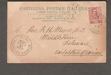 1904 Michaelangelo post card Italy Rome to Rev L H Moore DD Middletown Delaware