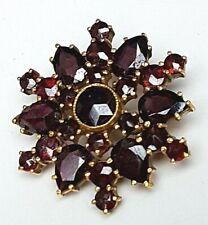 Granat Brosche 333 Gelbgold böhmische Rosenschliff Granaten um 1920 - / A 509