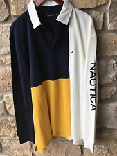 Nautica Spell Out Color Block Polo Rugby Shirt XL Cotton Long Sleeve Sailing