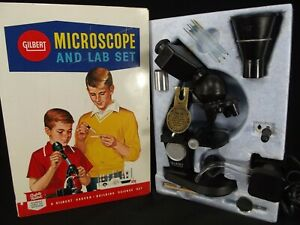 VINTAGE MICROSCOPE Gilbert lab set 13084 electric metal case 1959