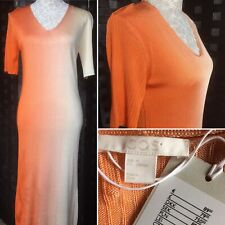 COS Size M UK 14 Peach & Cream Ombre Ribbed Maxi Dress Short Sleeve RRP £79 NEW