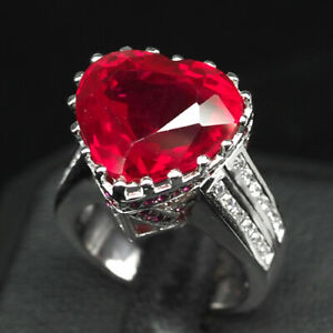 RUBY BLOOD RED HEART 13.10 CT. SAPP 925 STERLING SILVER RING SZ 5.5 WOMEN GIFT