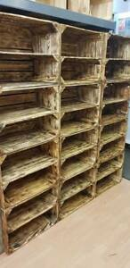 10 x BURNTWOOD WOODEN SHOE RACK HANDMADE VINTAGE COTTAGE STORAGE APPLE CRATE