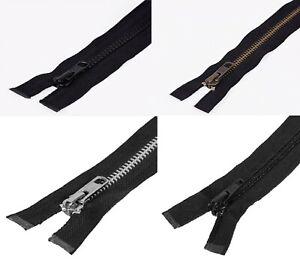 """Heavy Duty ZIP YKK Open End N5 Black Metal Brass Plastic Jacket/Coat/Boot 6""""-40"""""""
