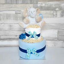 Nappy cake 2 tier baby boy baby shower gift hamper basket