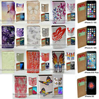 For Apple iPhone Series Case - Butterflies Print Wallet Phone Case Cover