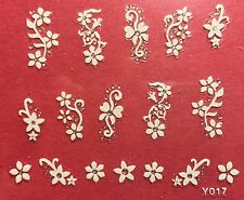 Nail Art 3D Decal Stickers White Flowers Y017