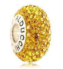 Alducchi Citrine Swarovski Crystal 925 Silver European Charm Bead