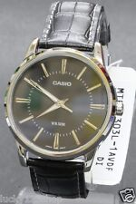 MTP-1303L-1A Black Casio Genuine Leather Band Watches Men's Analog Nunber Dial