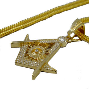 Mens New Gold Finish Mason Charm Diamond Simulate Crystal+30 Inch Chain Necklace