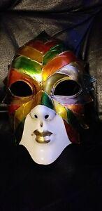 Original Hand Painted Venice Face Mask Autumn Leaf Design.