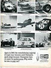 1964 Champion Spark Plugs Indy Ford Plymouth Chevy Ferrari Rolls Royce Racing Ad
