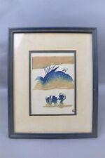 Nenjiro Inagaki Mikumo Wood Block Art Hand Print Japanese Blue Brown Framed