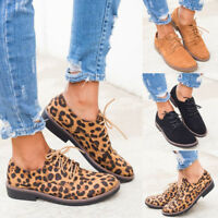 New Womens Leopard Print Lace Up Shoes Casual Comfy Slip-On Sneakers Size 6-9