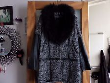 grey/black coat with fur neckline.