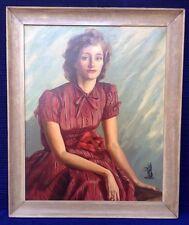 Vintage Portrait Painting Signed Maud Janney (Barbara Alexander Brady) Wellesley