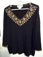 Joseph A. Women's Size 2X Jewel Sequin Top Blouse Sweater Party Holiday Pullover