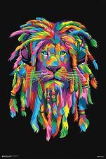 PSYCHEDELIC LION WITH DREADLOCKS POSTER 24X33 Bob Marley funkadelic rasta reggae