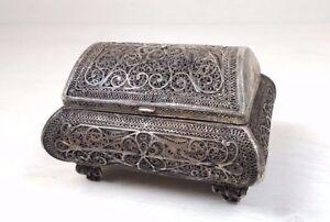 Antique Russian Silver Filigree Handmade Handcrafted Trinket Box Chest 19 Cen