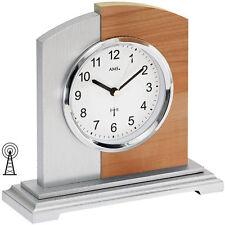 NEU AMS Tischuhr Funk silber Kernbuche Buche Funkuhr Büro Business Schreibtisch