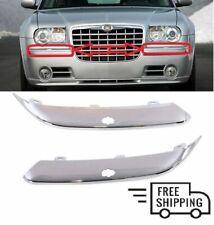 3CHRYSLER 300C 2005- 2011 Front Bumper Chrome Trim Moulding With Holes L+R SET