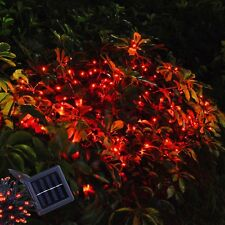 100 LED Solar Fairy String Light Party Gardn Lawn Waterproof Decor Lamp Red