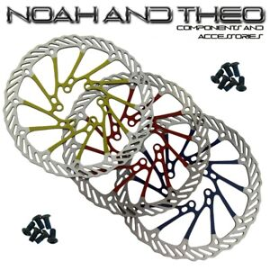 410 Stainless Steel Bicycle Disc Brake Rotors 160mm incl. bolts Blue Red Yellow