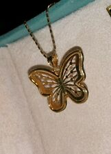 Ross Simons 14k yellow gold & sterling silver Butterfly pendant beaded necklace