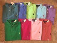 NEW New Polo Ralph Lauren CUSTOM FIT MESH Solid Shirt Asst. Colors S M L XL XXL