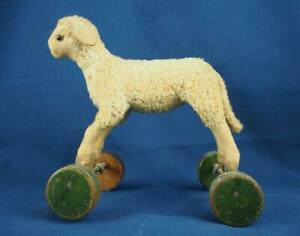 Antique Mohair Sheep Lamb Animal Pull Toy Steiff with Wood Wheels