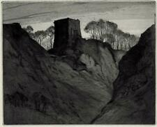 ARTHUR HENRY KNIGHTON-HAMMOND Signed Etching CASTLE IN LANDSCAPE WITH RAVINE
