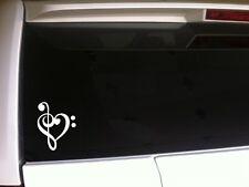 "I Love Music Heart Note vinyl sticker decal 6"" *B44 musician Treble Bass Piano"