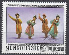 Mongolei Briefmarke gestempelt Tanz Tracht Musik Folklore Jahrgang 1977 / 171