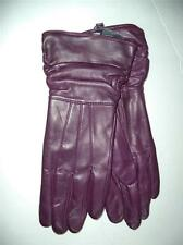 Ladies Long Ruched Cuffs Genuine Leather Gloves, Medium,Purple
