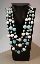 Lori Bonn Sterling Silver Amazonite Fresh Water Pearl 3 Strand Necklace