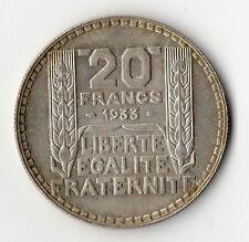 QUALITE SPLENDIDE : MONNAIE DE 20 FRANCS TURIN ARGENT 1933 SPL @ SILVER COINS !