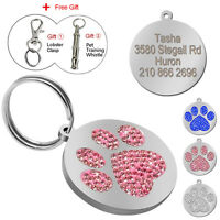 Bling Paw Print Custom Dog Tags Engraved Dog Cat Pet Name Collar ID Tag Disc