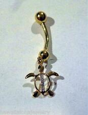 10mm Hawaiian 14k Yellow Gold 0.015Ct Diamond Petroglyph Turtle Navel Belly Ring