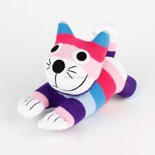 Handmade Purple Pink Striped Sock Monkey Cheshire Cat Stuffed Doll Animals Toy