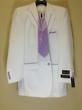 BNWT Falcone 48L White Lavender Tuxedo Fashion Exotic Harvey Suit 4PC Solid Pant