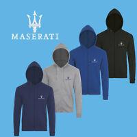 Homme Maserati Sweat Shirt Capuche Auto Voiture Logo Brodé Hoodie Zippé éclair