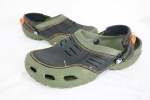 Crocs Men's Sz 10 Yukon Vista Faux Leather Clogs Green Black Orange Strap